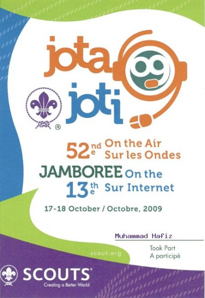 My participation certificate for the 13th World Scout Jamboree on the Internet (JOTI)