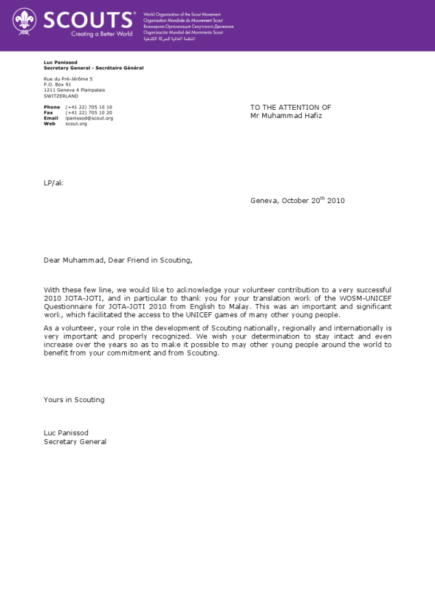 Special letter from the Secretary General of WOSM in Switzerland