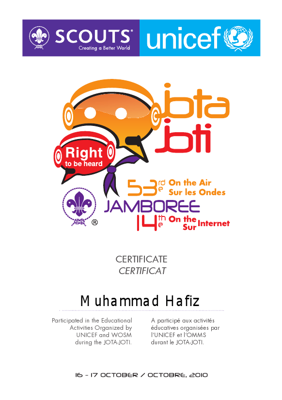 My participation for the 14th World Scout Jamboree on the Internet (JOTI)