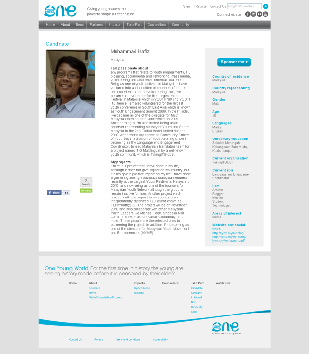 My profile in One Young World's website