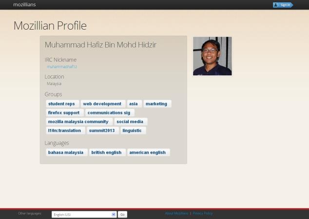 Mozillians- Muhammad Hafiz Bin Mohd Hidzir